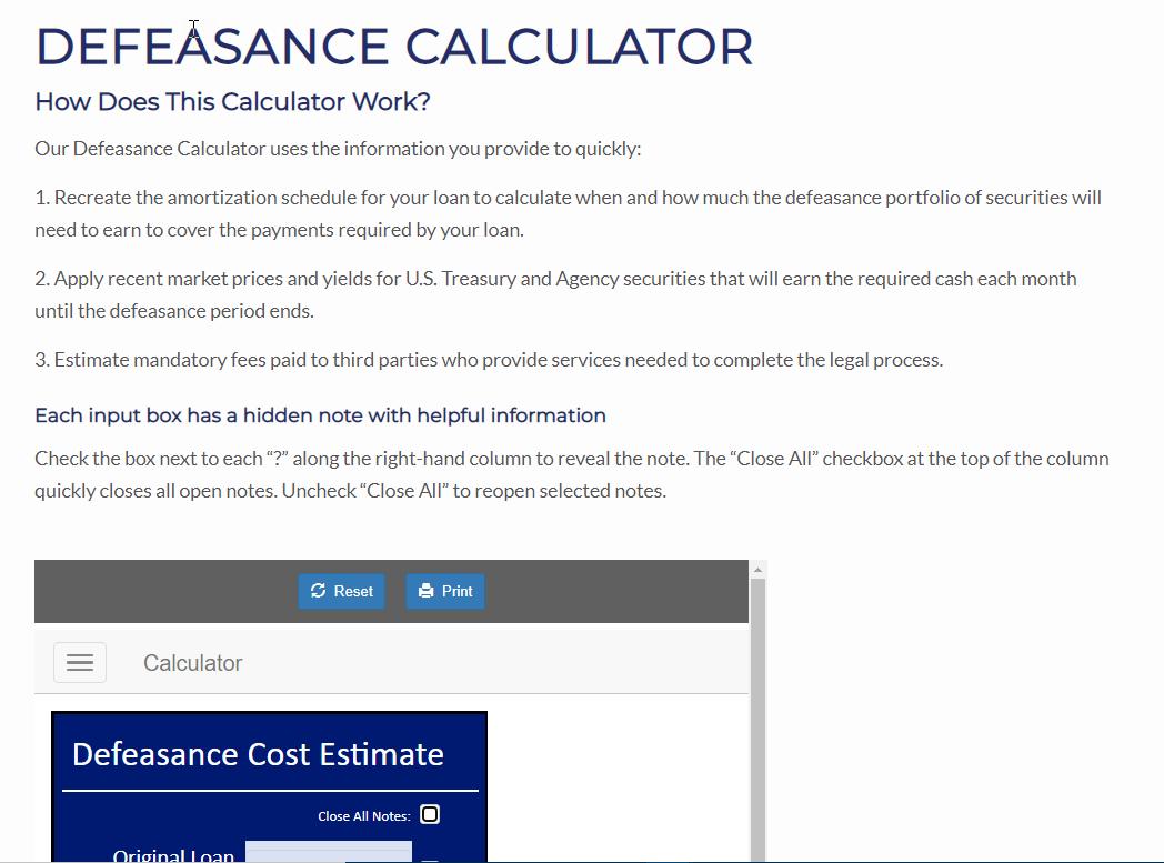 Defeasance Calculator